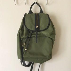 Handbags - Green Khaki Drawstring Zip Backpack